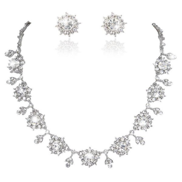 EVER FAITH Bridal Silver-Tone Flower Snowflake Necklace Earrings Set Clear Austrian Crystal - CP11GG5RYR7