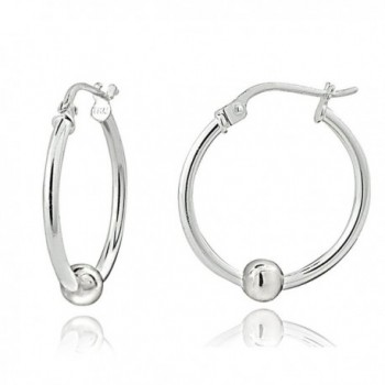 Sterling Silver Bead Round Polished Hoop Earrings - 25mm-Silver - CN12MN3R76X