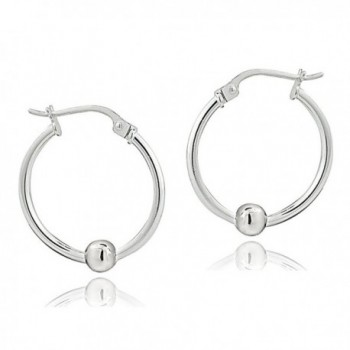Sterling Silver Bead Round Earrings in Women's Hoop Earrings