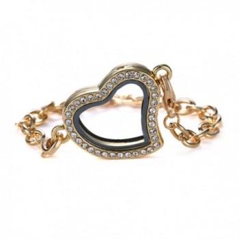 Bling Stars Glass Heart Shape Rhinestone Floating Charm Living Memory Lockets Bracelet Set - Golden - CC12EG7SZW9