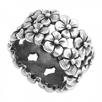 Sterling Silver Women's Plumeria Flower Eternity Ring Cute 925 Band Sizes 5-10 - C611GQ4E4CB