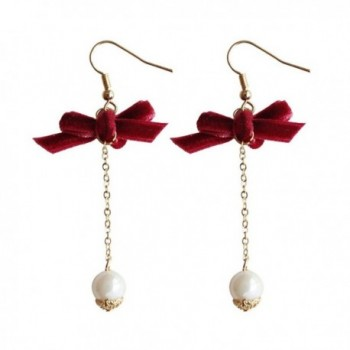 18K Gold Plated Black / Red fabric Bowknot Bowtie With Imitation Pearl Women long tassel dangle Earrings - Red - CU1878DC85I