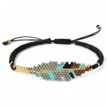 BeadChica Handmade Tribal Seed Bead Bracelet - Beaded Leaf Bracelet - Adjustable - Color 1 - C817YR4RN6N