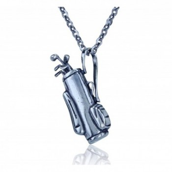 """Sterling Silver Golf Bag Pendant W/ Moving Golf Clubs with Stainless Steel 20-22"""" Necklace Chain - CE11DJDTYTF"""