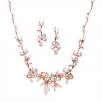 Mariell Elegant Rose Gold Vine CZ Necklace and Earrings Set for Weddings or Evening Wear - CD12JV7FL3P