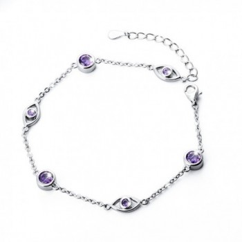 925 Sterling Silver Adjustable Lucky CZ Evil Eye Charm Bracelet for Women- (6.9-8.1 inches) - CT1845QNSWT