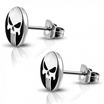 Stainless Steel Punisher Skull Round Circle Button Stud Post Earrings - Silver - CX185OAG0YZ
