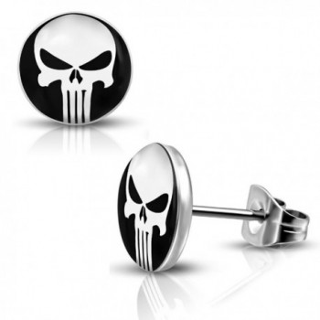 Stainless Punisher Circle Button Earrings