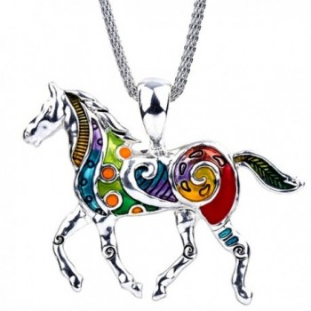 """DianaL Boutique Large Colorful Silver Tone Horse Pendant Necklace on 20"""" Mesh Chain Fashion Jewelry - CE128WCFOWN"""
