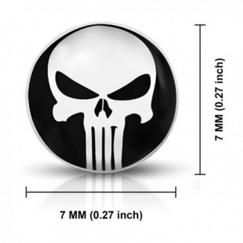 Stainless Punisher Circle Button Earrings in Women's Stud Earrings