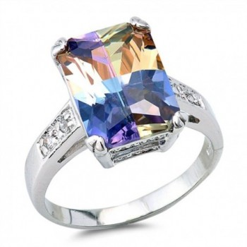 Sterling Silver Large Rectangle Ring - Multicolor Simulated Cubic Zirconia - CI12JBXJ19J