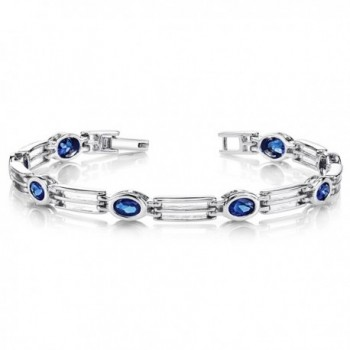 Created Sapphire Bracelet Sterling Silver Rhodium Nickel Finish Oval Bezel Set - CM1141DPOI7