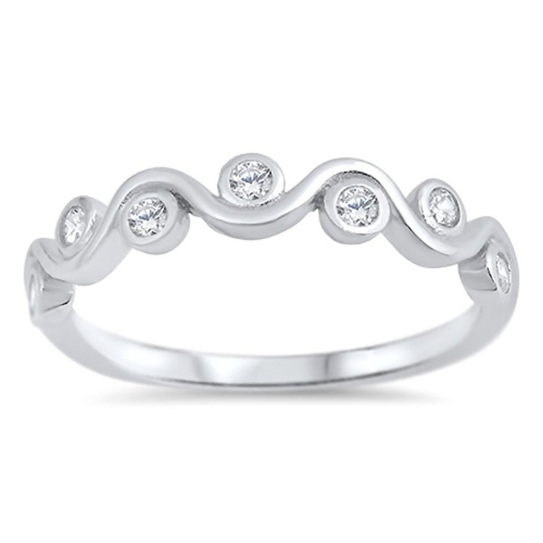 Round Clear CZ Beautiful Wave Cute Ring New .925 Sterling Silver Band Sizes 2-10 - CZ12O4DCFCG
