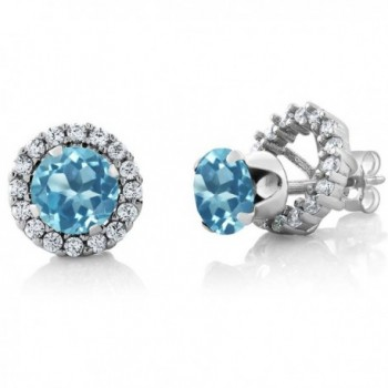 2.00 Ct Round 6mm Swiss Blue Topaz 925 Silver Removable Jacket Stud Earrings - CB11IX8N03H