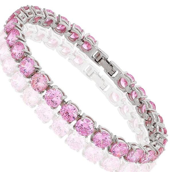 "Round Cut Multi-Color CZ 18K Gold Plated Tennis Bracelet- 7"" - Pink - CY182K5RTQK"