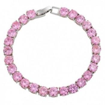 Simulated Sapphire Plated Tennis Bracelet