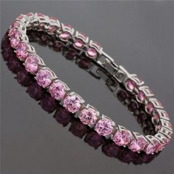 Simulated Sapphire Plated Tennis Bracelet in Women's Tennis Bracelets