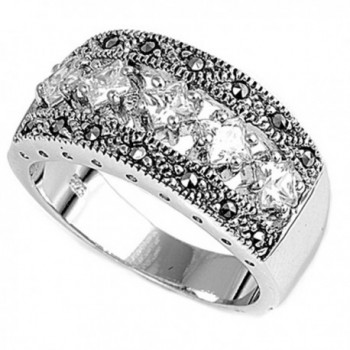 Sterling Silver Ring - White Simulated Cubic Zirconia - CB187Z6MZ95