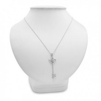 Diamond Fleur Lis Key Pendant in Women's Pendants