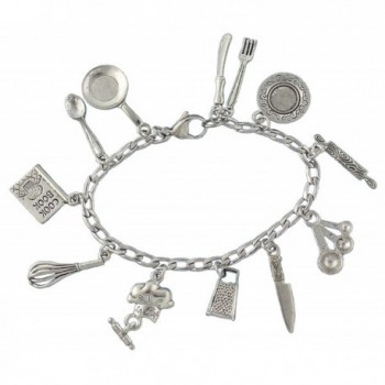 Chef Charm Bracelet- Pewter Cooking and Baking Themed Charms on Stainless Steel Chain - Sizes XS S M L XL - C612KLH0XTV