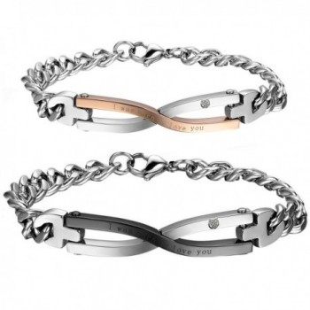 Cupimatch 2PCS Stainless Steel Matching Love Couples Bangle Bracelets Link Chain Gift (Infinity) - CO183MY83LA