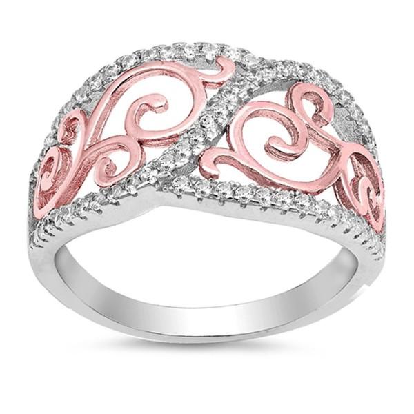 Sterling Silver Filigree Swirl Ring - C9182LNN9W5
