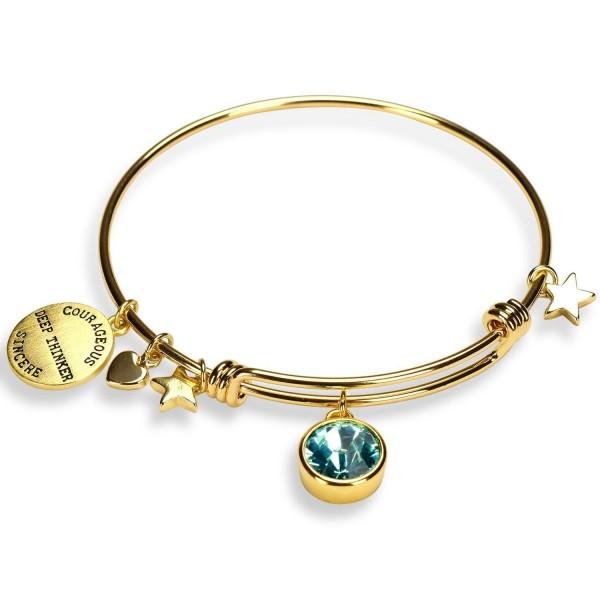 Gold Plated Charm Bracelet Birthstone Crystal Expandable Bangle Bracelet - CI17AANMYUK