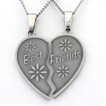 Best Friend Necklaces Break Apart Heart Necklace 2 Half Heart Pieces (2) 18 Inch Chains Friendship Gifts - C6115L6KCFN