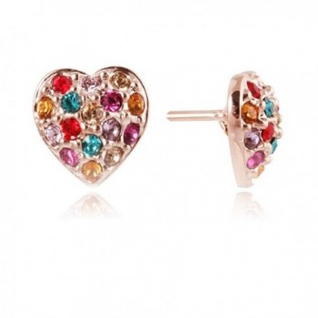 Fashion Plaza Women's Rose Gold Color Heart Shape Stud Earrings with Colorful CZ E353 - CT11CWJIWA3