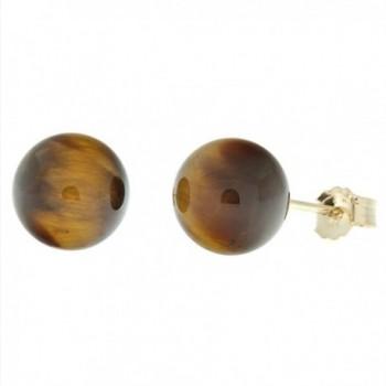 Trustmark 14K Yellow Gold 8mm Natural Brown Tigers Eye Ball Stud Post Earrings - C8118ZIEALP