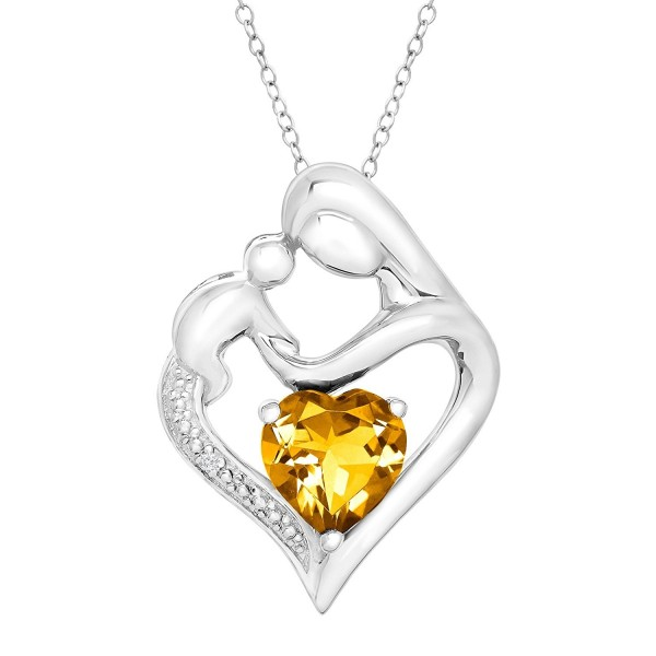 "Sterling Silver Natural Citrine Mother & Child Heart Pendant Necklace with Diamond- 18"" - C612E0UQGLJ"