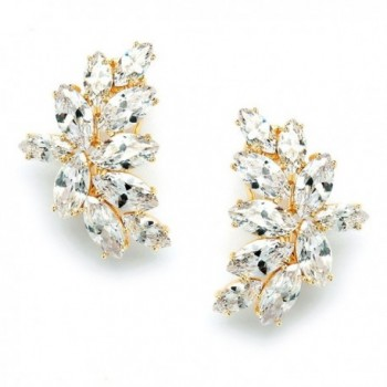 Mariell Shimmery Marquis Cluster Cubic Zirconia Bridal or Special Occasion Earrings - 14K Gold Plated - C512JGUEMQJ