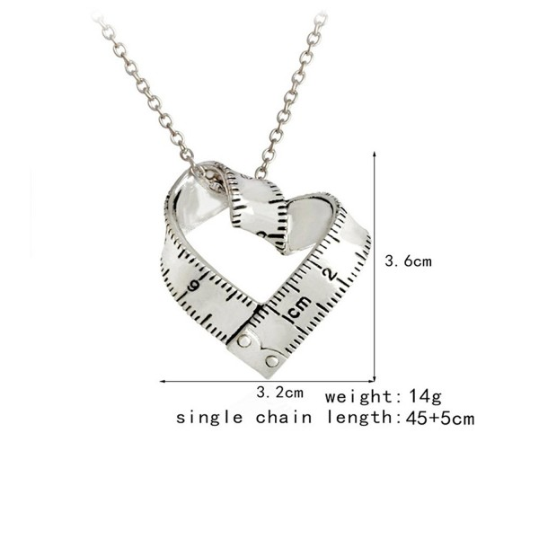 Kebaner Retro Silver Heart Shaped Ruler Pendant Necklace Rotating Ruler Teacher Gift - Silver - CT17YQRUNU6
