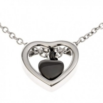 Double Heart Urn Necklace Pendant with Funnel Fill Kit Included- Keepsake Cremation Ashes - Black Heart - CJ126ZUN5Z7
