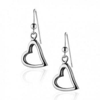 925 Sterling Silver Modern Symbolic Open Heart Dangle Earrings- Fashion Jewelry for Women & Girls - CT11C3TFL89