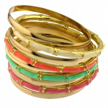 Colorful color block bamboo texture multi bangles set total of 9 bangles metal textured bracelets - Light Mult - CP11SET8BZR