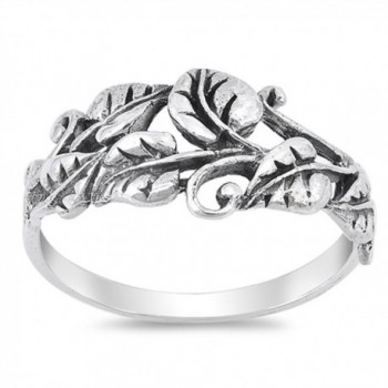 Oxidized Tree Leaf Vine Forest Filigree Ring 925 Sterling Silver Band Sizes 5-10 - CO12NZHLWF8