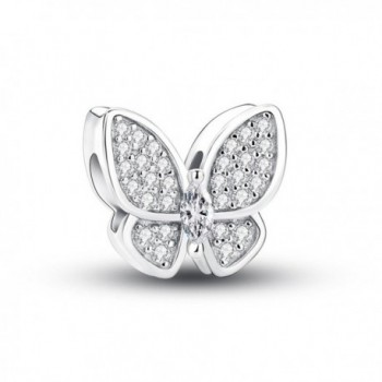Glamulet Clear Crystal Butterfly Series Charms 925 Sterling Silver Beads Fits for Bracelet - C8189YT4C4M