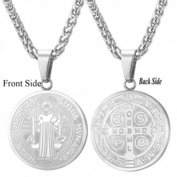 Saint Benedict Medal Pendant Celtic Cross Christian Jewelry Stainless Steel/18K Gold Plated Necklace - C612DACGPVX