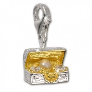 SilberDream Charm treasure chest white pearl and Zirconia gold plated 925 Sterling Silver FC227WZ - C5116DUTMBB