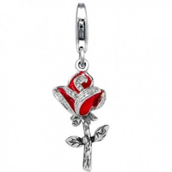 Jovana Sterling Silver Links Charm Red Rose with Red Enamel lobster clasp - CS118WIF1YJ