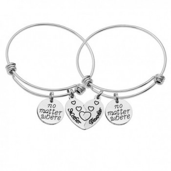 CAROMAY Mother Daughter Bangle Bracelets Jewelry Set Mother Daughter Forever Pack of 2pcs - C7188ZLDI7G