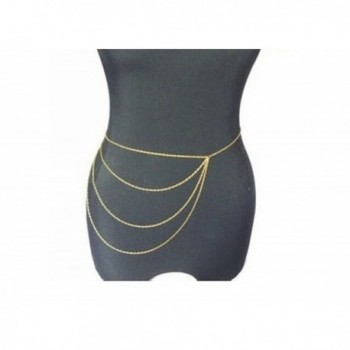 Wiipu Simple Gold Waist Chain Body Chain Body Jewelry Belly Slave Crossover Punk(D79) - C012KMN6W2L