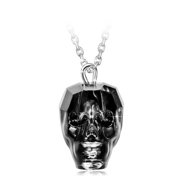 "LadyColour ""King of Rebirth"" Sterling Silver Skull Heads Pendant Necklace Made with Swarovski Crystals - CF12N5GZSOS"