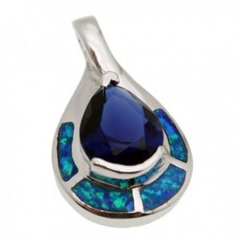 Teardrop Sterling Silver Pendant Blue Opal Ocean Sapphire Jewelry - CX17YTTNMCT
