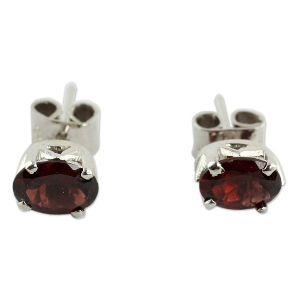 NOVICA .925 Sterling Silver and Garnet Artisan Handmade Stud Earrings- 'Scintillate' - CV127W12Z09