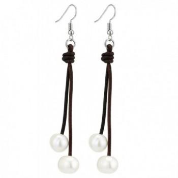 Cultured Freshwater Pearl Dangle Earrings for Women Handmade Genuine Leather Cord Hook Earring - Brown - CB186HKATEA
