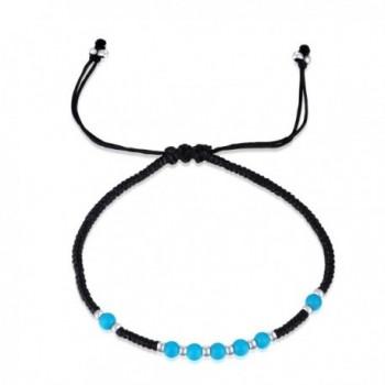 MBLife 925 Silver & Gemstone Beads Macrame Waxed Cotton Adjustable Cord Bracelet - C512NGFJCLF