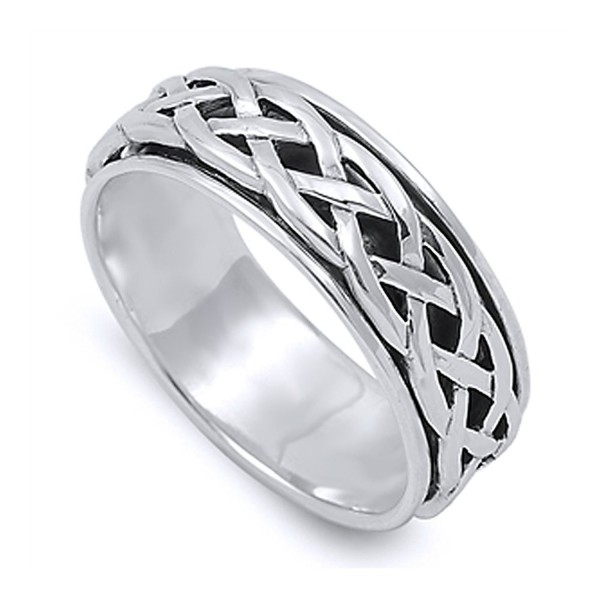 Sterling Silver Wedding & Engagement Ring Celtic Design Spinner Wedding Band 8mm ( Size 4 to 14) - C712GW0MCHH