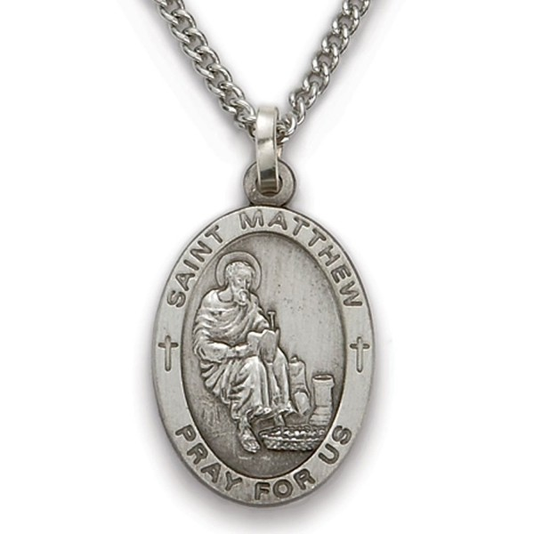 Sterling Silver Oval Saint Matthew Patron of Accountants and Bankers Medal- 7/8 Inch - CK12FSWH1AR